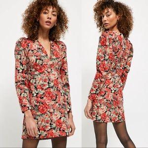 NWT Free People Kapowski Mini Floral Dress Red 6